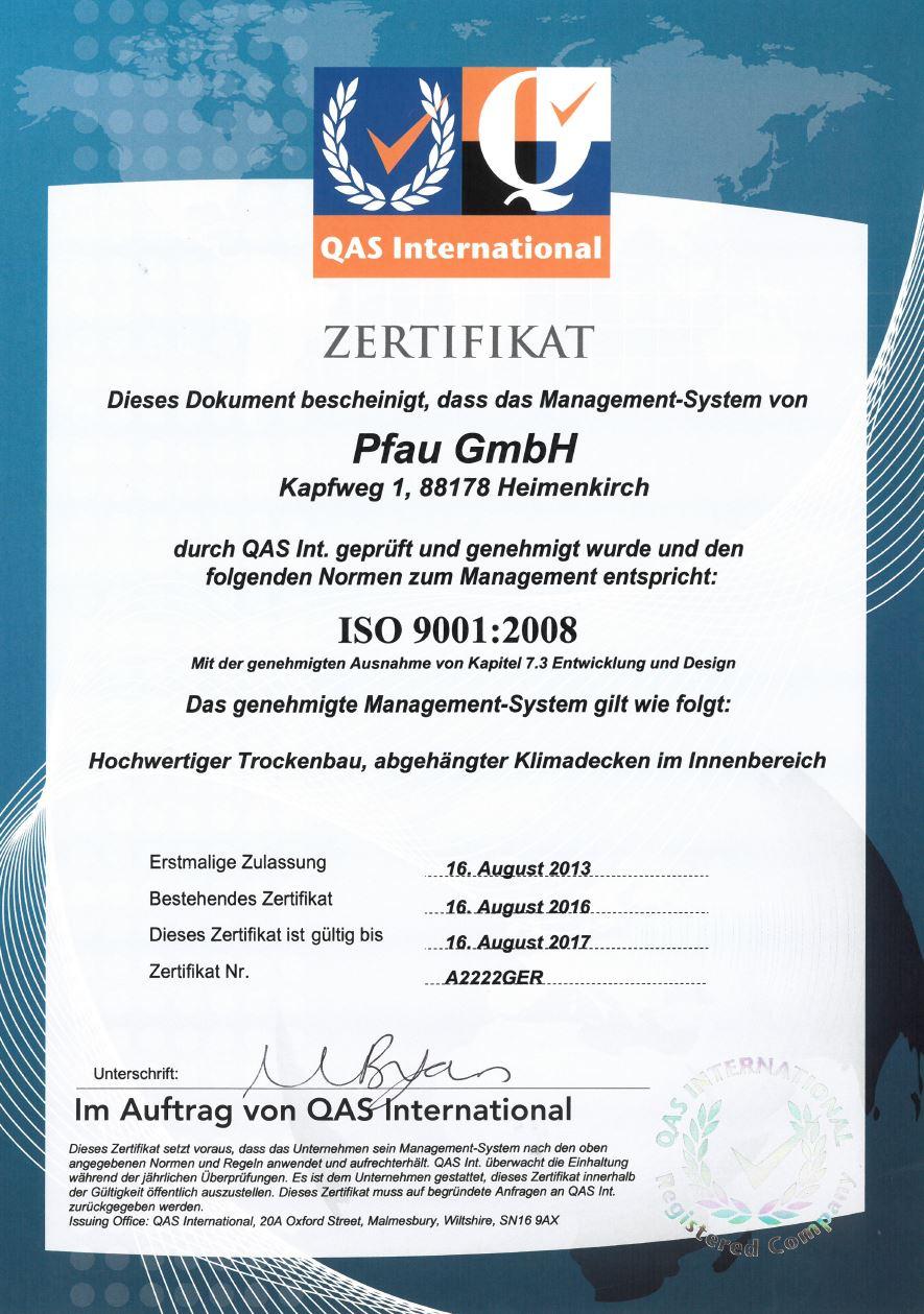 Zertifikat Pfau Trockenbau